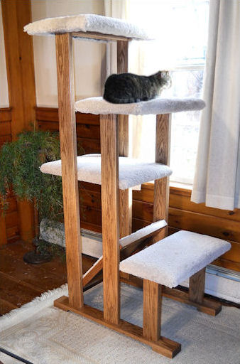 Stylish hardwood and carpeted cat tree window perches for Build a cat perch